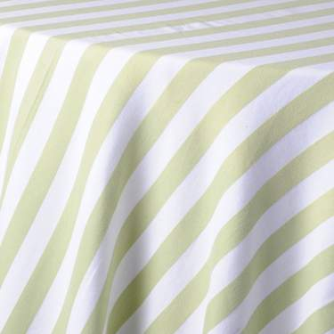 "Awning Stripe Pear & White 108"" Round"