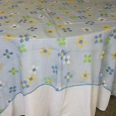 "Sheer Floral Blue 18"" X 72"" Runner"
