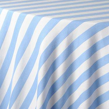 "Awning Stripe Sky Blue & White 132"" Round"