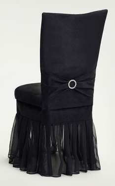 Black Suede Chair Cover With Jewel Belt And Black Organza Skirt