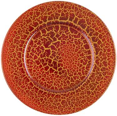 Red and Gold Crackled Charger