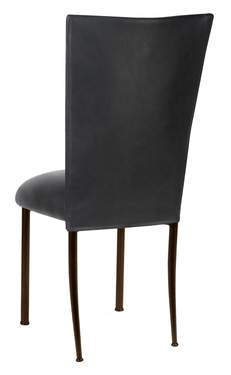 Black Leatherette Chair Cover And Cushion On Brown Legs