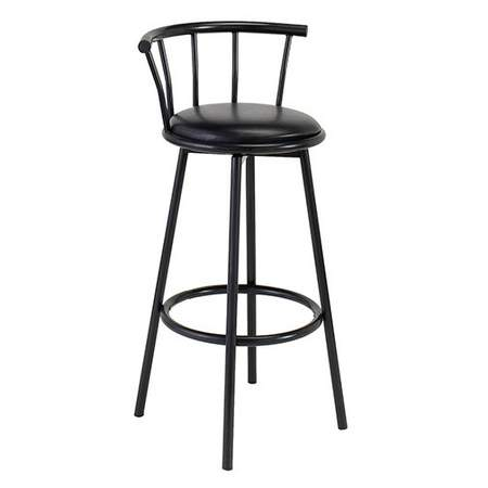 Black Barstool w/ Black Seat & Back Swivel