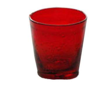 Red Bubble Votive Glass