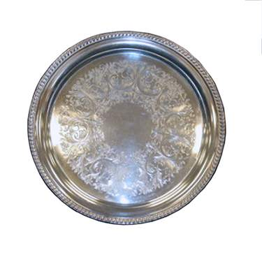 Silver Gadroon Round Tray 16""
