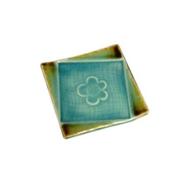 Turquoise Gold Banded Appetizer Plate