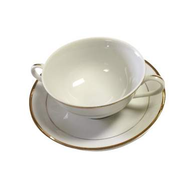 White Double Gold Banded Bouillon Cup