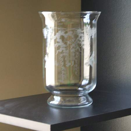 Etched Glass 8 Hurricane Candle Holder Rentals Tabletop Accessory