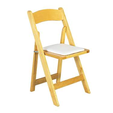 Natural Wood Folding Chair w/ Tan Seat