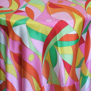 "Poly Satin Pucci Multi 90"" Round"