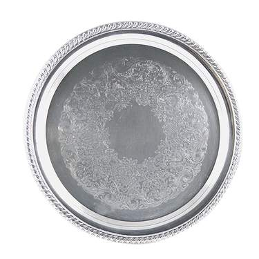 Round Silver Tray 12""