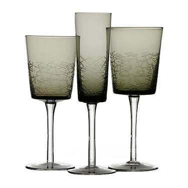Smoke Black Etched Glassware Pattern