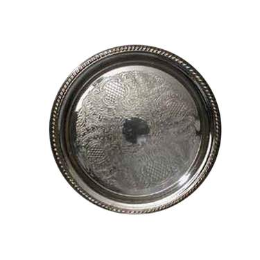 Silver Round Floral Tray 14""