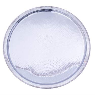 Silver Hammered Round Tray 18""