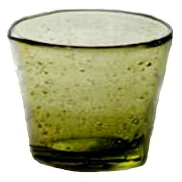 Olive Bubble Glass Votive