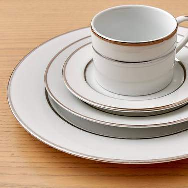 White Double Silver Banded Porcelain Pattern