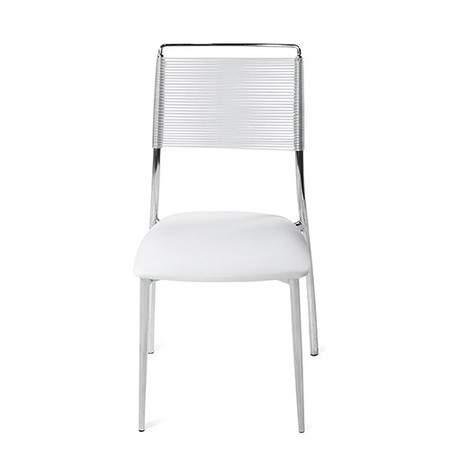 Silk Back Armless Chair   White