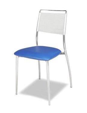 silk back armless chair blue