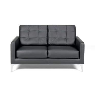 metro black leather loveseat