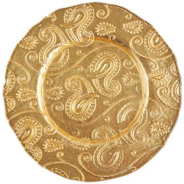 Gold Paisley Glass Charger